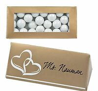 100 Gold Seating Name Place Cards Candy Boxes Bridal 50th Wedding Anniversary