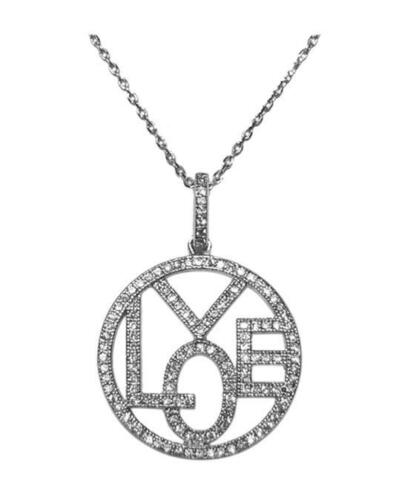 THE LOOK OF REAL PAVE CZ OPEN CIRCLE THE WORD LOVE NECKLACE PENDANT-BRIDAL