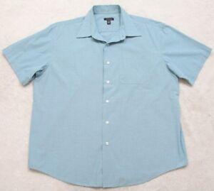 Van-Heusen-Blue-XL-17-17-5-Dress-Shirt-Short-Sleeve-Men-039-s-Button-Front-Solid-Man