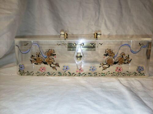 Vintage Lucite Painted Poodle Purse