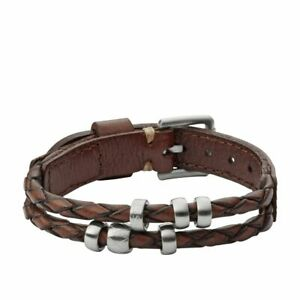 5c850878ad39 Image is loading Fossil-Bracelet-for-Men-Vintage-Casual-Leather-Jf02345040