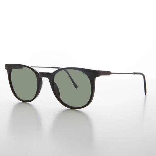 Black Rounded Square Horn Rim Vintage Sunglass with Green Lens Enzo