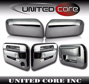 04-08 Ford F150 Chrome Full Mirror+4 Door+Tailgate Handle lever only Cover Trim
