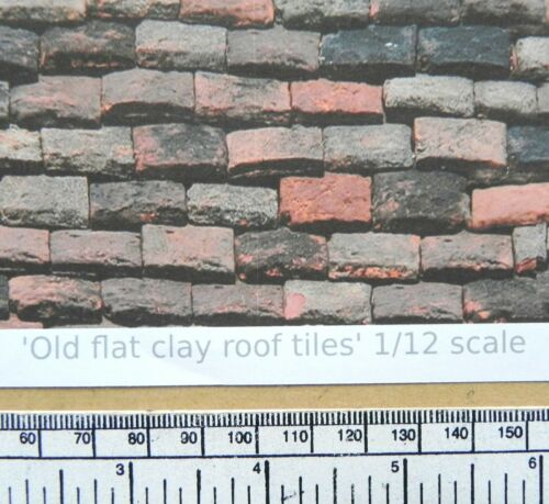 """Dolls house 1//12th scale /""""Roof tiles A4 sheet old flat clay type/""""  paper"""