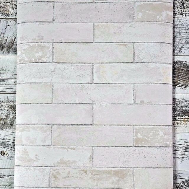 Soft Gray Taupe Realistic Modern Faux Brick Designer White Wash Wallpaper Diy