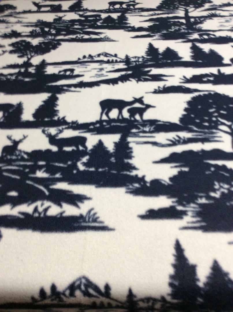 Fleece Knotted Tied Blanket -Wilderness Deer - Navy bluee Silhouette on Pale bluee