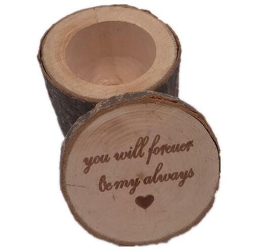 1PCS Wooden Wedding Ring Box Engagement Jewelry Display Storage Case Vintage