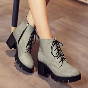 WOmen-039-s-Low-Chunky-Heels-High-Top-Lace-Up-Round-toe-Leather-Martin-Ankle-Boots