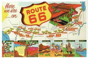Route 66 Map, Chicago Illinois to Los Angeles California, Road ... on