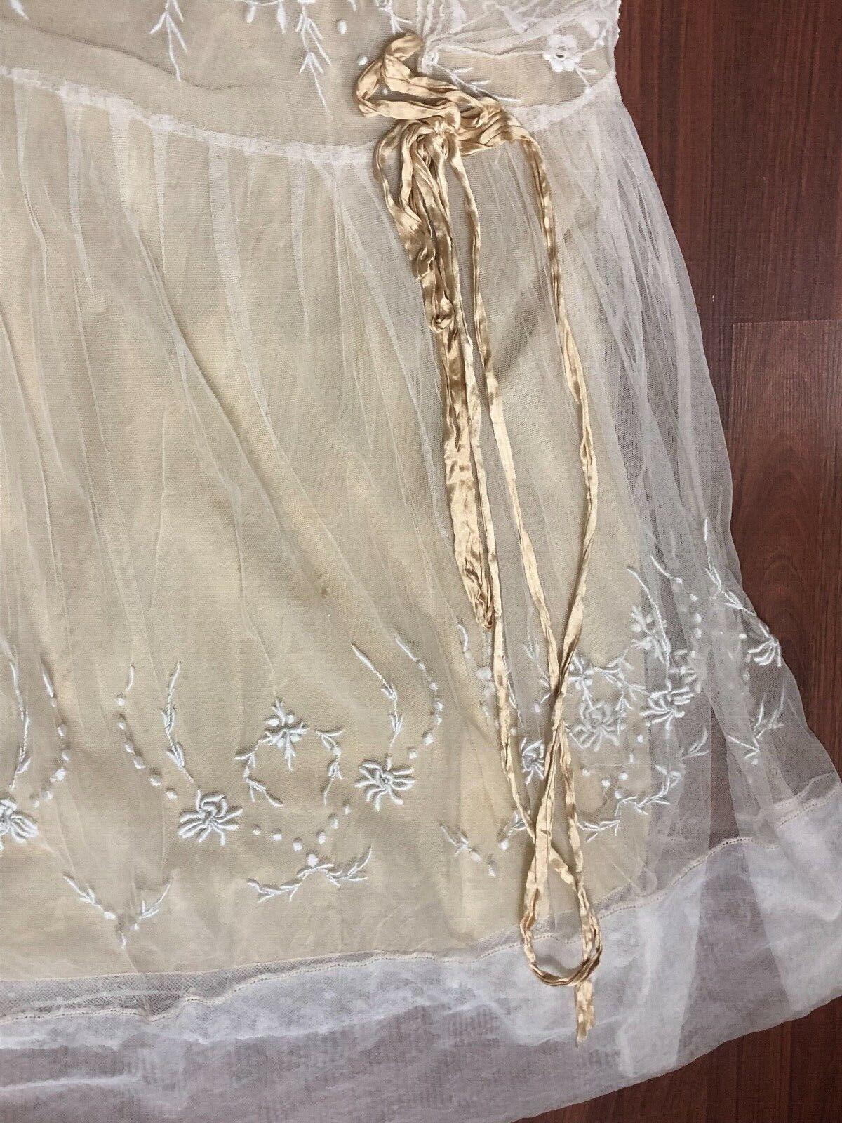Antique Edwardian White Mesh Dress with Floral Em… - image 6