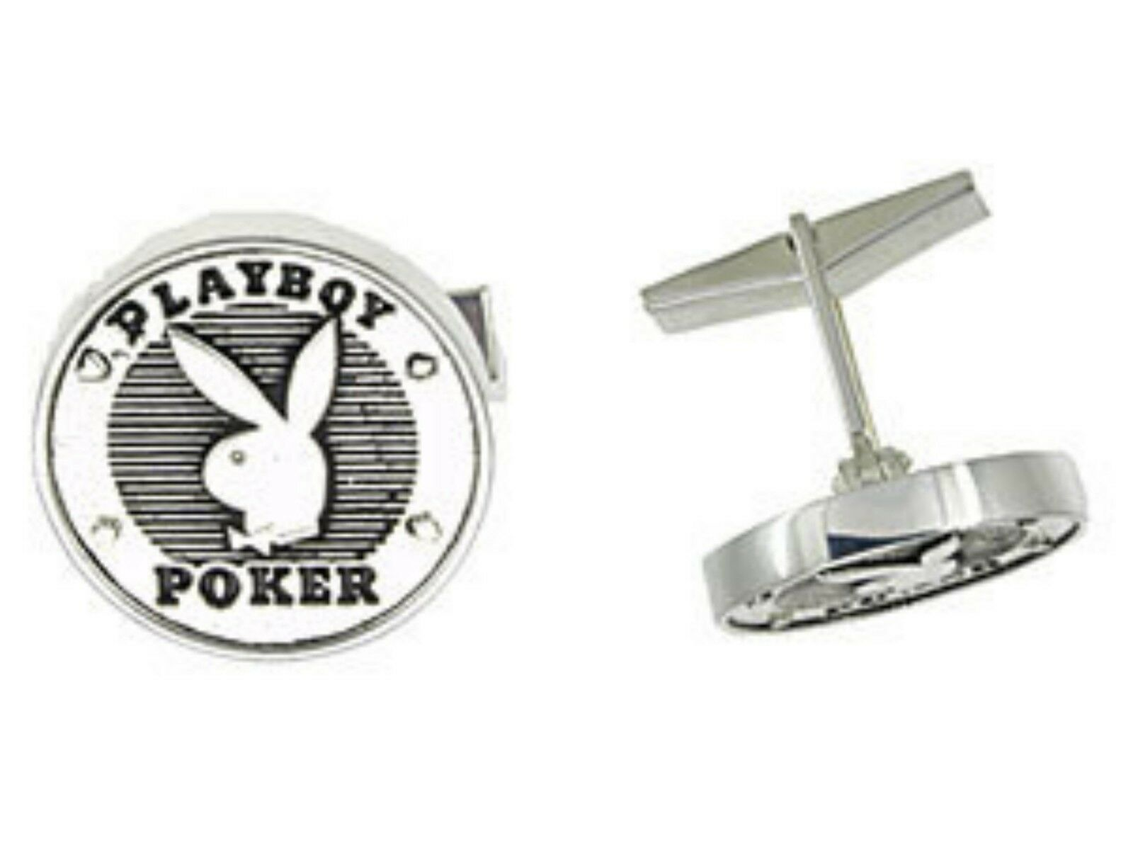 PLAYBOY MENS CUFFLINKS POKER BUNNY IN BOX JEWELLERY NEW