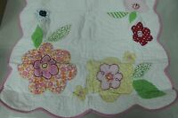 Pottery Barn Kids Julianne Quilted Set 2 Shams White Pink Floral Euro Square