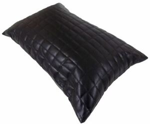 Pillow Leather Cover Genuine Cushion Black Decorative Throw Soft 1