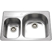 Houzer Pmc-3322sl Premiere Designer Topmount 70/30 Kitchen Sink Stainless Steel