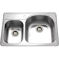 Houzer Pmc-3322sl Premiere Designer Topmount 70/30 Kitchen Sink Stainless Steel