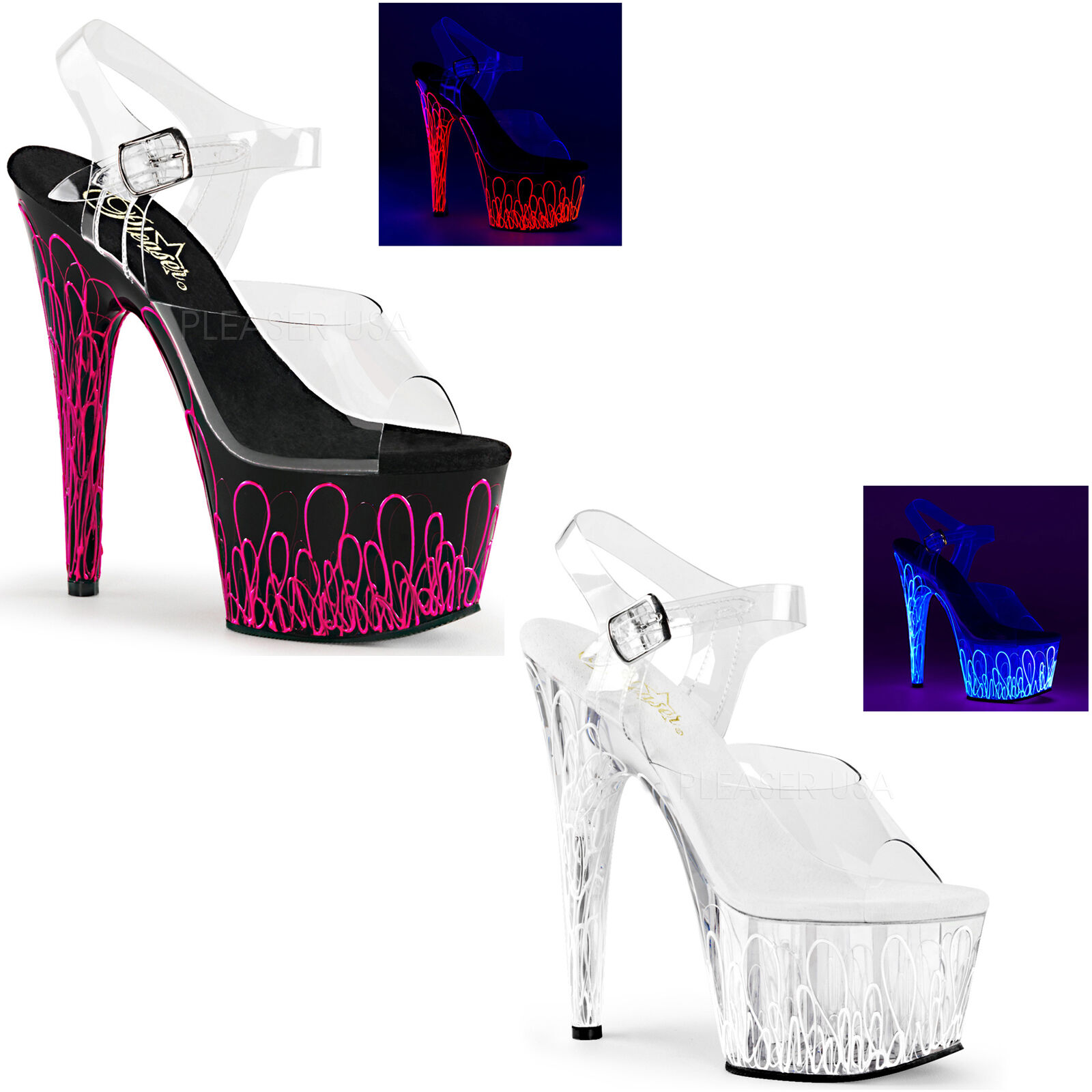 Pleaser Adore-708UVL Shoes Platform Pole Sandals Neon Heels Ankle Strap Pole Platform Dancing 131735
