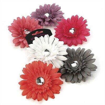 CHOICE OF SIX COLOURS 1x 10cm FLOWER HAIR CLIP GRIP WITH ACRYLIC CRYSTAL CENTRE