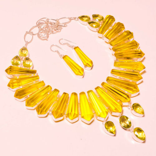 """Lemon Topaze à facettes Handmade Gemstone FASHION ETHNIQUE BIJOUX Collier 18/"""" SN-280"""