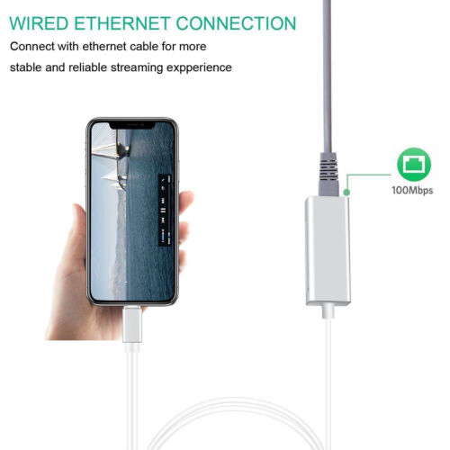 Charging /& Ethernet Adapter for iPhone iOS to RJ45 Home Router LAN Network Cable