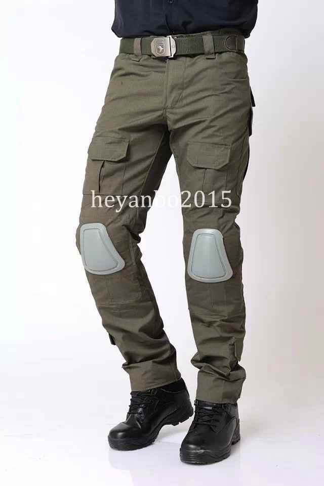 TACTICAL MILITARY SHOOTING G3 COMBAT PANTS WITH KNEE PADS AIRSOFT PANTS -GREEN