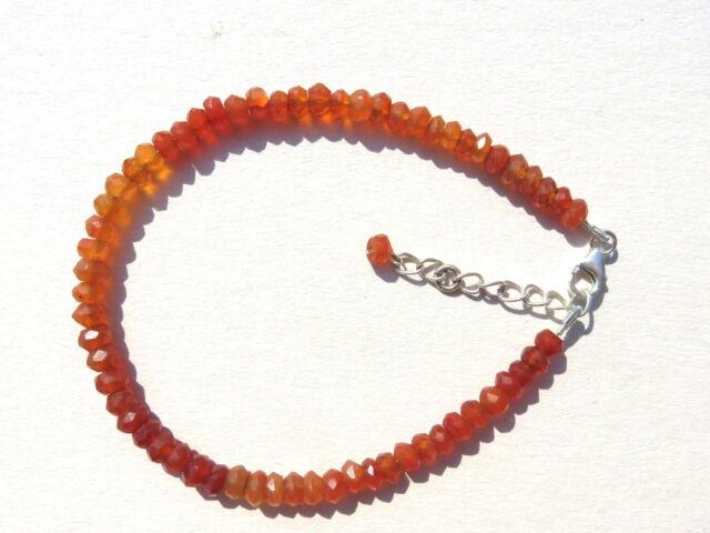 Carneol facett. Armband 19,5-22,5 cm 925 Silb. Cornelian bracelet Nr. 3554