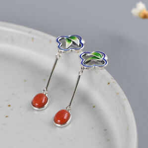 I05-Ohrring-roter-Achat-Blaetter-Sterling-Silber-925-Cloisonne