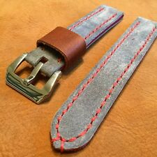 Handmade Suede Leather Men's watch strap 22mm Gray Blue Band with Steel buckle