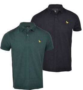 Mens-Premium-Short-Sleeve-Plain-Rib-Button-Polo-Shirt-T-Shirt-Top-Casual-S-XXL