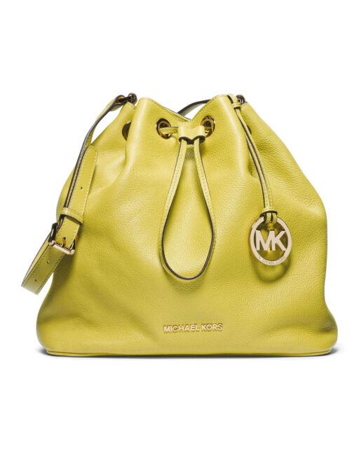 5ebdfc4ddfbc15 Michael Kors Jules Leather Large Drawstring Shoulder Bag in Apple Green