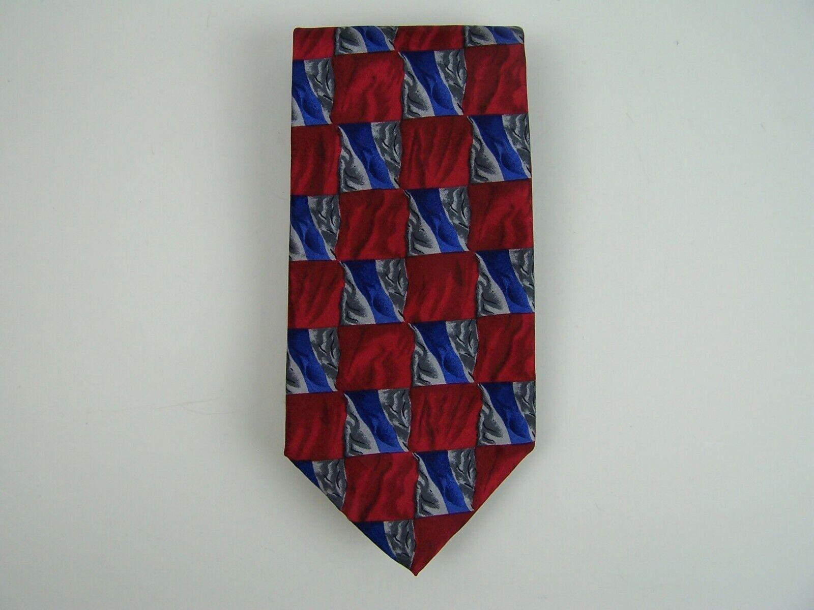 Jerry Garcia Neck Tie Reds Blue Grays Geometric Blocks