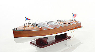 """Chris Craft Triple Cockpit Speed Boat Wooden Model 24"""" Runabout New"""