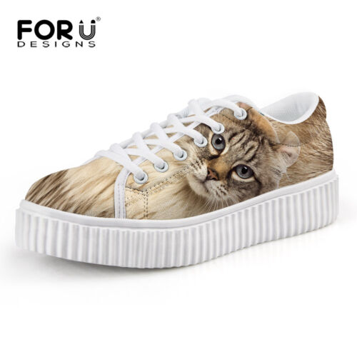 Woman 4cm High Shoes Girl Casual Sneakers Tabby cat  Printed Lace-up Creeper