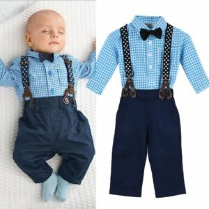 Newborn Baby Boy Overalls Outfit Bow T Shirt Braces Pants Trousers