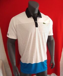 Lacoste Sport ANDY RODDICK White Blue Black w  Stripes Men s Polo ... 06261cf63691e