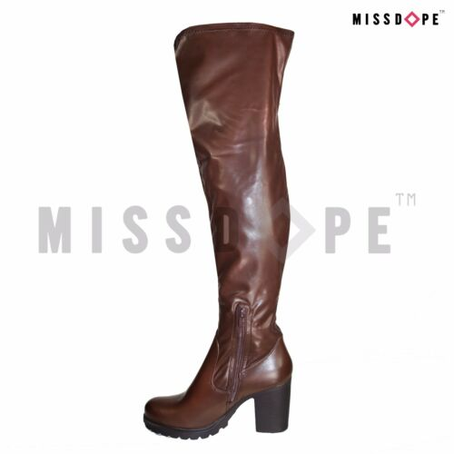 NEW DARK BROWN THIGH HIGH SLIM OVER THE KNEE BOOTS BLOCK WOMENS FAUX LEATHER UK