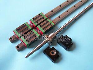 16mm ballscrew RM1605-300mm+BK//BF12 end bearing+15mm Linear Guideway 2 Rail CNC