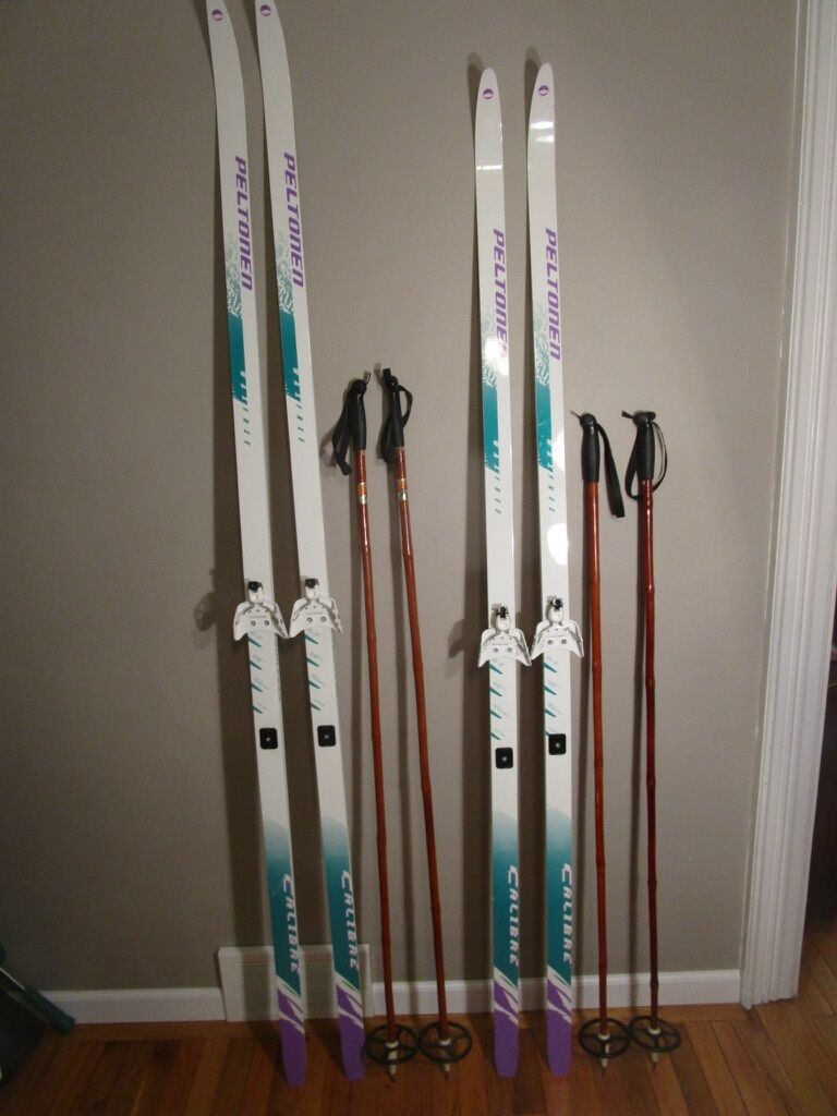 His & Hers 2 Set Finland PELTONEN CALIBRE  Wax Free Skis with Colin Bamboo Poles  shop now