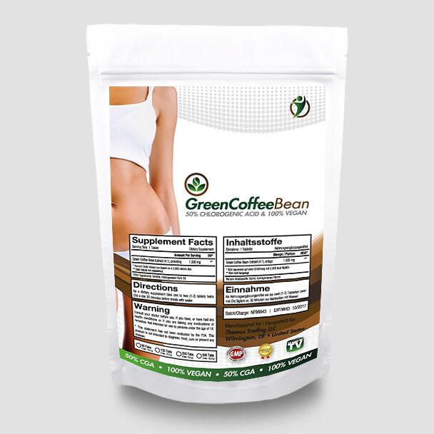 500 Tabletten GREEN COFFEE BEAN á 2000MG Grüner Kaffee Extrakt Diät GCB VEGAN