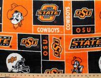 College Oklahoma State University Cowboys Print Fleece Fabric Sosu012s