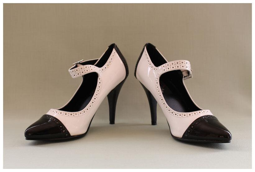Pleaser US Pumps Gr. 36 / US Pleaser 6 High Heels Lackpumps Dream 423 schwarz/weiß (#2124) 53f63a