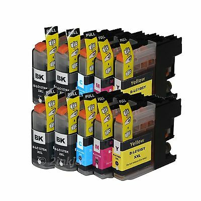 10 Pack  LC107 LC105 XXL Ink  For Brother LC-107 MFC-J4710DW with CHIP