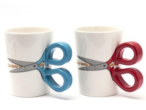 Tassen mit Scherengriff als SET blau und rot
