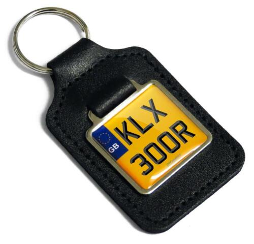 KLX 300R Reg Number Plate Leather Keyring Fob for Kawasaki KLX300R Off-Road Key