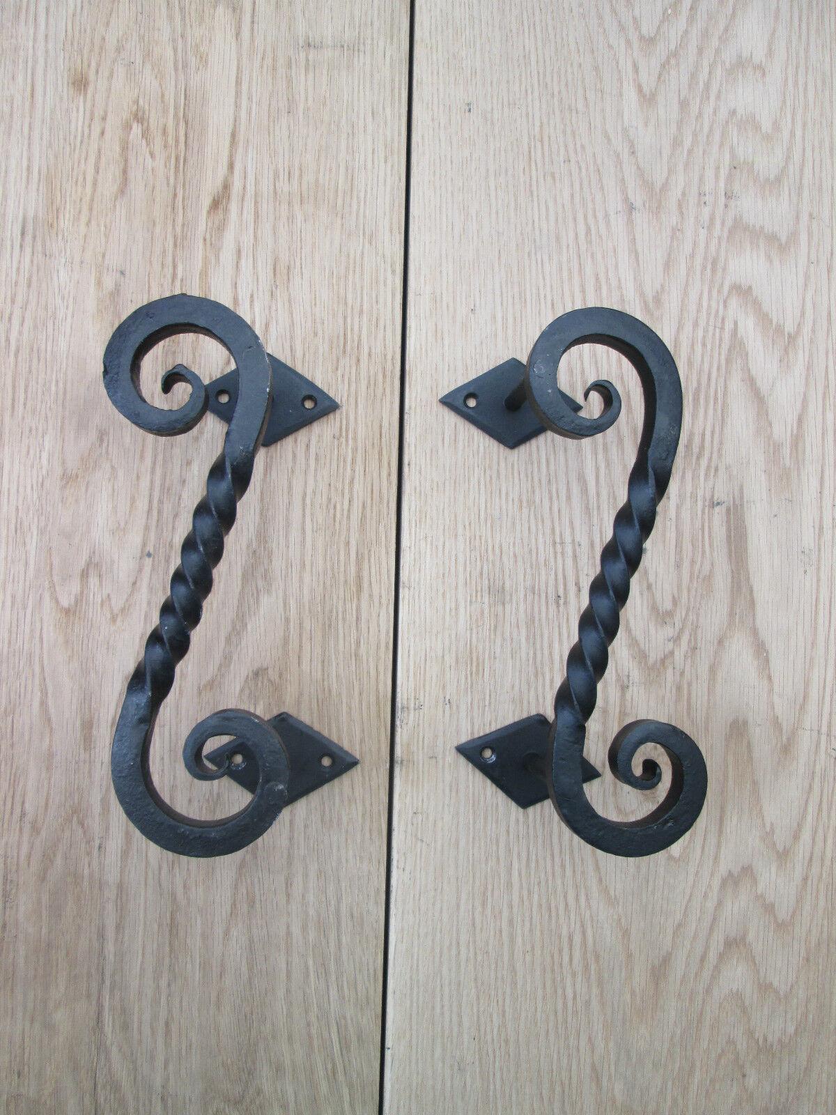 1 Paar Schmiedeeisen Hand Geformt Schwer Dekorativ Tür Scheune Stabil Ziegriffe