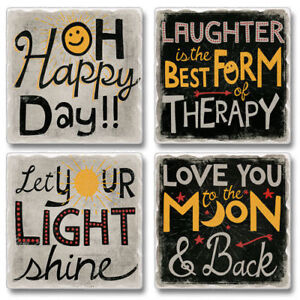 Mixed-Absorbent-Stone-Coasters-Set-4-Oh-Happy-Day-Love-You-to-the-Moon-amp-Back