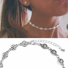 Boho Silver Metal Retro Choker Chunky Collar Necklace Star Pendant Jewelry Gift