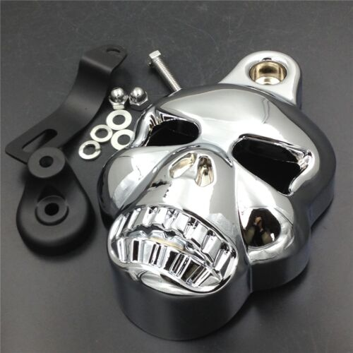 Skull Horn Cover Cowbell For Harley Dyna Sportster Softail V-Rod Glide Big Twins