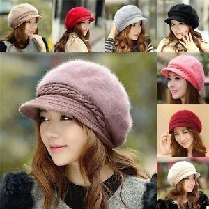 fa74d2047d7 Lady Women Winter Warm Crochet Hat Braided Baggy Beret Cap Rabbit ...