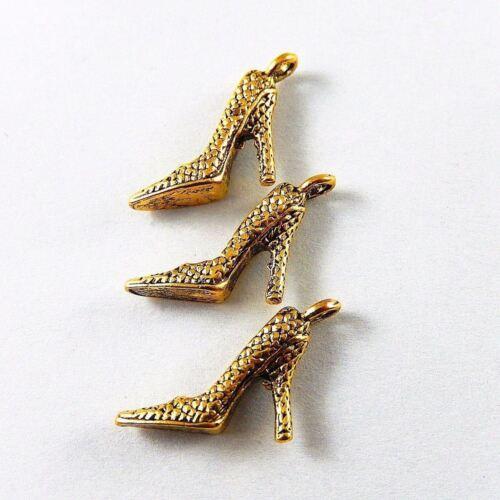 Antike Gold Legierung Schuhe mit hohen Absätzen Charme Schmuck Handwerk 60X