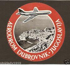 YUGOSLAVIA JAT Airline BAGGAGE LABEL  Dubrovnik Airport